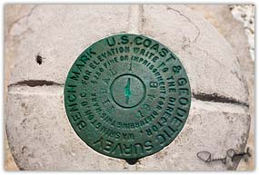 Geodetic survey benchmark located near Crown Point Eleuthera